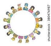 women group form circle shape... | Shutterstock .eps vector #380476987