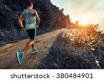 man athlete running on the... | Shutterstock . vector #380484901