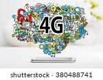 4g concept with smartphone on... | Shutterstock . vector #380488741