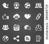 social network icons on black... | Shutterstock .eps vector #380489719