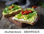 healthy toast with goats cheese ... | Shutterstock . vector #380490325