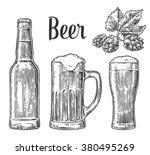 beer glass  mug  bottle. vector ... | Shutterstock .eps vector #380495269