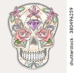 cute mexican skull. colorful... | Shutterstock .eps vector #380496259