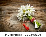 bouquet of snowdrops on wooden... | Shutterstock . vector #380503105