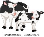 cute cow mother with baby calf  | Shutterstock .eps vector #380507071