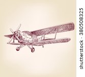 airplane vintage hand drawn... | Shutterstock .eps vector #380508325