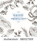 vector seafood designer... | Shutterstock .eps vector #380527309