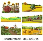 farm  rural landscape  vector... | Shutterstock .eps vector #380528245