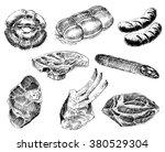 various meats doodles  sausages ...   Shutterstock .eps vector #380529304