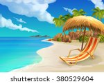 tropical beach  lounge chair ... | Shutterstock .eps vector #380529604