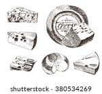 vector cheese sketch drawing ... | Shutterstock .eps vector #380534269
