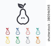 pear with leaf sign icon. fruit ... | Shutterstock .eps vector #380546545