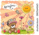 Cute Cartoon Teddy Bear On The...