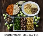 vegan sources of protein ... | Shutterstock . vector #380569111