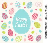 easter greeting card with green ... | Shutterstock .eps vector #380575081