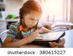 little beautiful girl running... | Shutterstock . vector #380615227