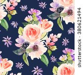 seamless pattern with flowers... | Shutterstock . vector #380621494