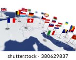 europe map with countries flags.... | Shutterstock . vector #380629837