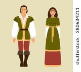 medieval man and woman in... | Shutterstock .eps vector #380634211