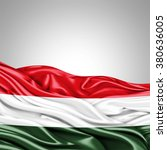 hungary flag of silk with...   Shutterstock . vector #380636005