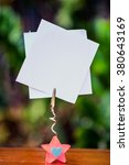 Small photo of pink star glass note-holder with alligator clip and blank white note