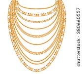 many chains golden metallic... | Shutterstock .eps vector #380660557