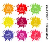 colorful juice or jam blots set.... | Shutterstock .eps vector #380661955