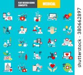 flat medical icons concept set... | Shutterstock .eps vector #380662897