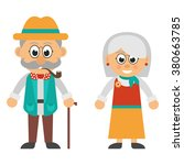 old woman and old man smoke set | Shutterstock .eps vector #380663785