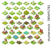 isometric game building farm... | Shutterstock . vector #380691781