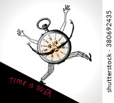 a clock character running. time ... | Shutterstock .eps vector #380692435