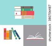 set of books in flat design | Shutterstock .eps vector #380706487