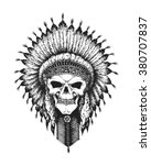 hand drawn indian chief skull... | Shutterstock .eps vector #380707837