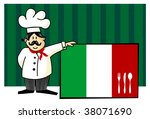 Chef of italian cuisine. Food, restaurant, menu design with cutlery silhouette on the country flag. Striped blue background. Vector available - stock vector