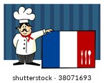 Chef of french cuisine. Food, restaurant, menu design with cutlery silhouette on the country flag. Striped blue background. Vector available - stock vector