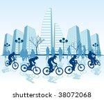 mountain biker vector  cmyk... | Shutterstock .eps vector #38072068