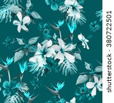 blue flowers pattern seamless.... | Shutterstock . vector #380722501