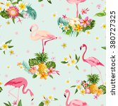 flamingo bird and tropical... | Shutterstock .eps vector #380727325