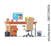 office desk with a computer ... | Shutterstock .eps vector #380729824