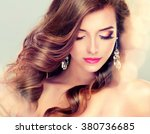 beautiful model brunette with... | Shutterstock . vector #380736685