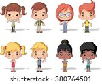 Group Of Happy Cartoon Childre...