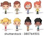 group of happy cartoon children.... | Shutterstock .eps vector #380764501