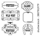 western vintage labels isolated ... | Shutterstock .eps vector #380781979