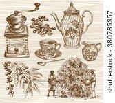 coffee set. hand drawn... | Shutterstock .eps vector #380785357
