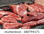 Raw Beef On A Butcher Shop Shelf