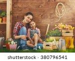 cute child girl helps her... | Shutterstock . vector #380796541