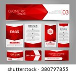 Design of flyers, banners, brochures and cards with red polygonal elements. Corporate Identity, Advertising printing. Vector illustration. Set | Shutterstock vector #380797855