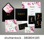 Tony spring inspired wedding invitation suite vector template. Pink and white variegated peony floral textured invitation card, table cards, menu and envelope with calligraphy elements. | Shutterstock vector #380804185