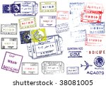 passport stamps | Shutterstock . vector #38081005