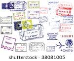 passport stamps   Shutterstock . vector #38081005